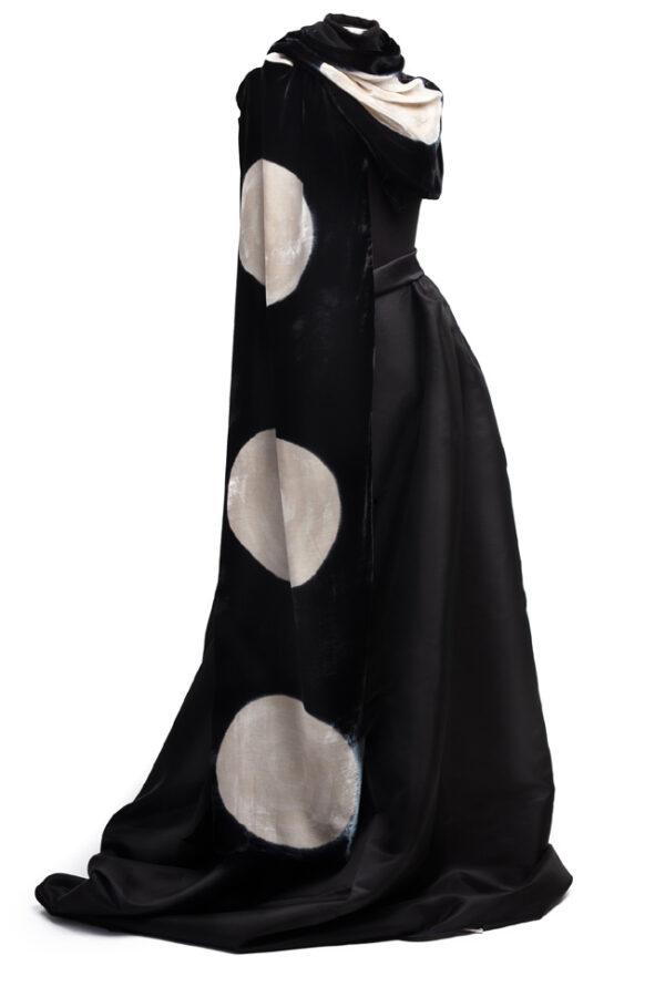 Silk Velvet Wrap - Black & Ecru Circles