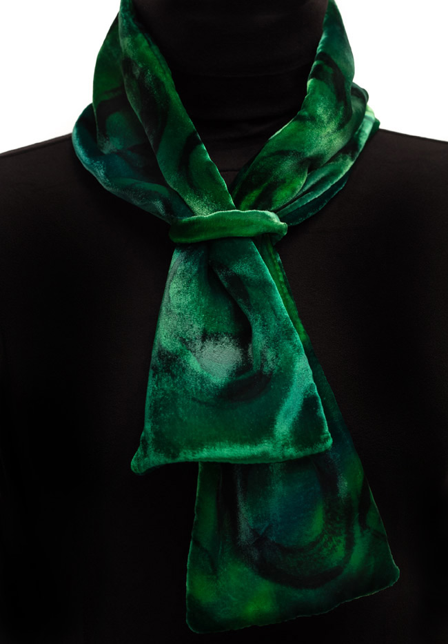 Silk Velvet Neck Scarf - Emerald