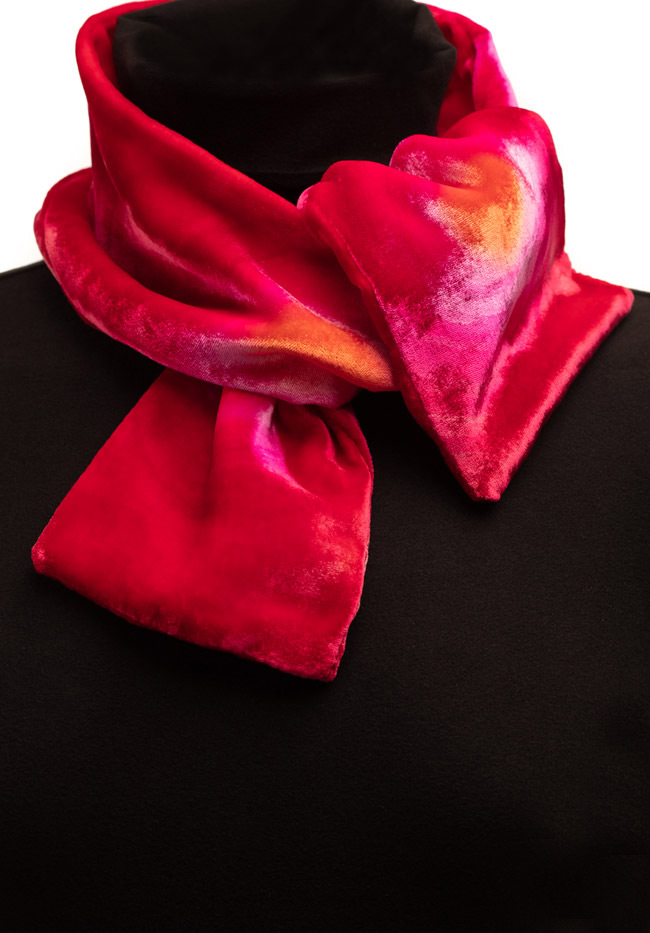 Silk Velvet Neck Scarf - Sunset Glow
