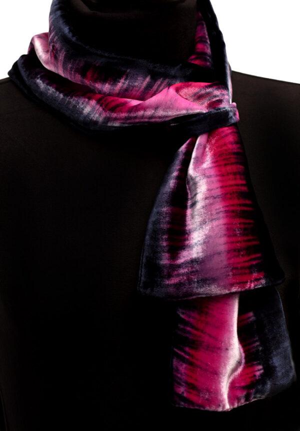 Mel Bradley Silk Velvet Neck Scarf - Cerise & Navy