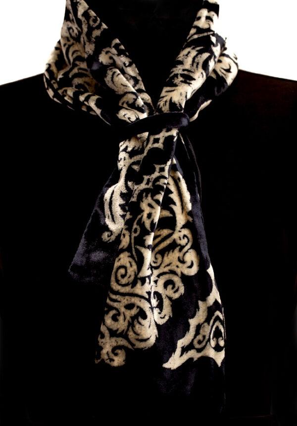 Mel Bradley Silk Velvet Neck Scarf - Black & Ecru
