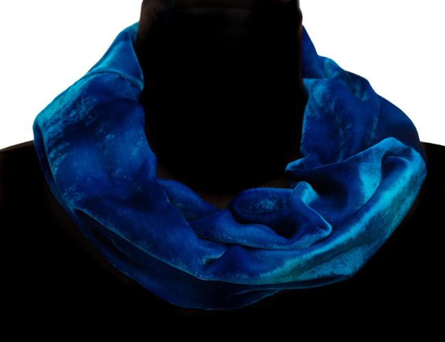 Silk Velvet Cowl Scarf - Blue Horizon