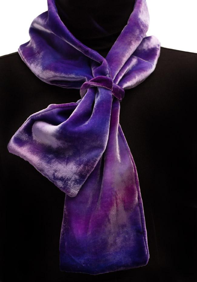 Silk Velvet Neck Scarf - Amethyst