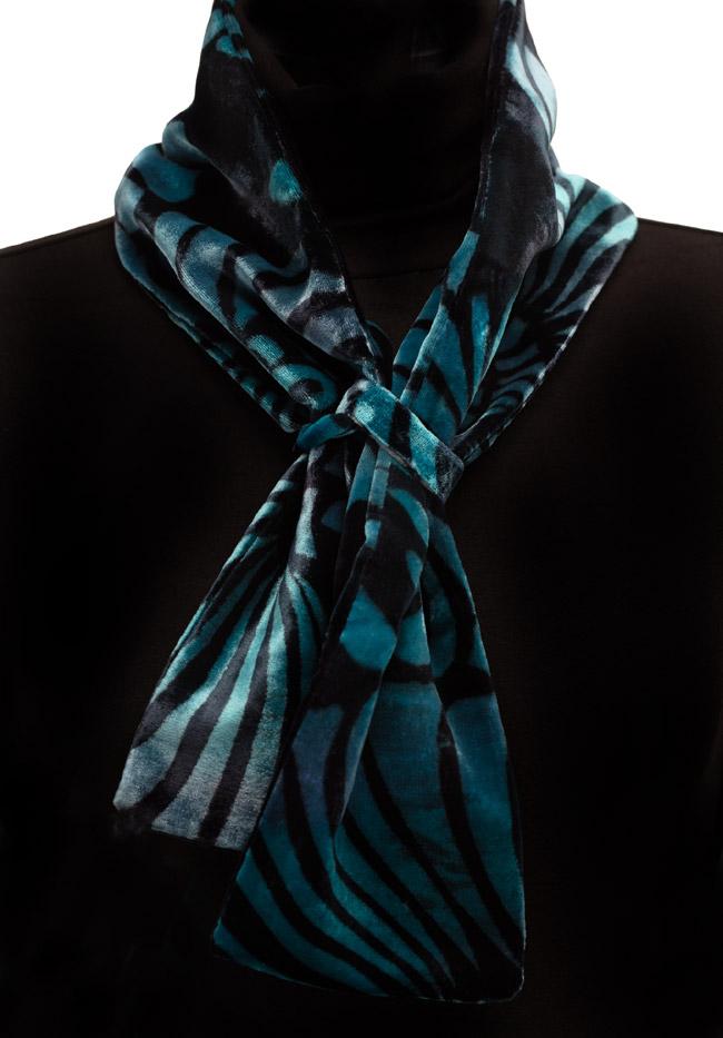Silk Velvet Neck Scarf - Azure