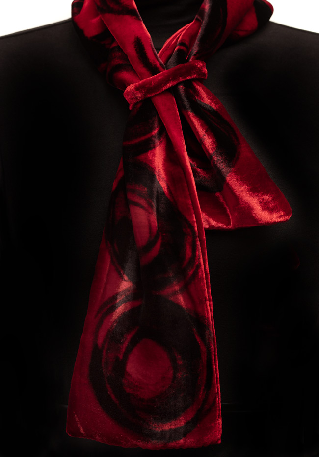 Silk Velvet Neck Scarf - Black & Red
