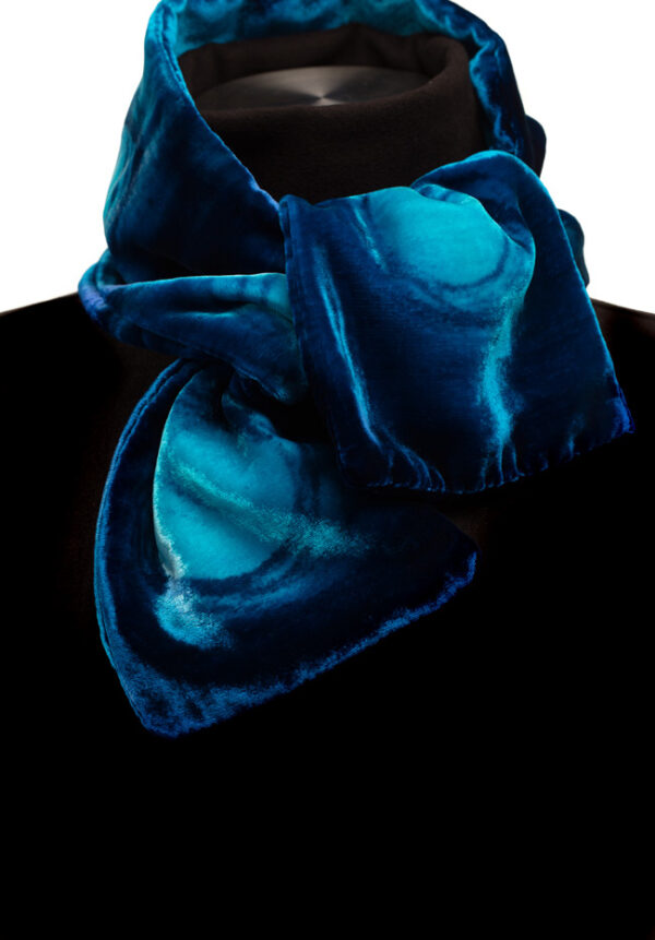 Mel Bradley Silk Velvet Neck Scarf - Blue Horizon