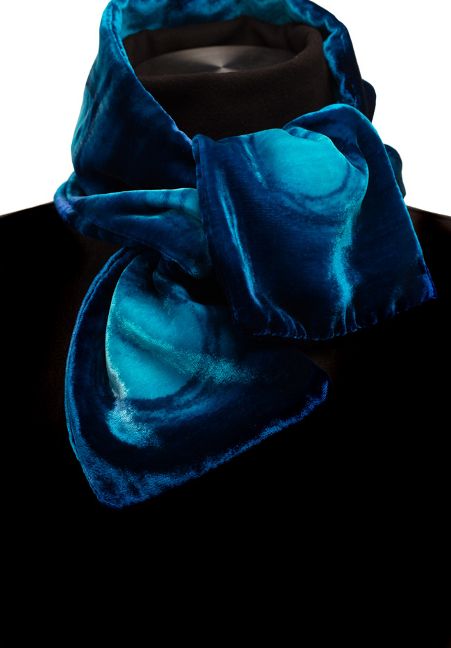 Silk Velvet Neck Scarf - Blue Horizon
