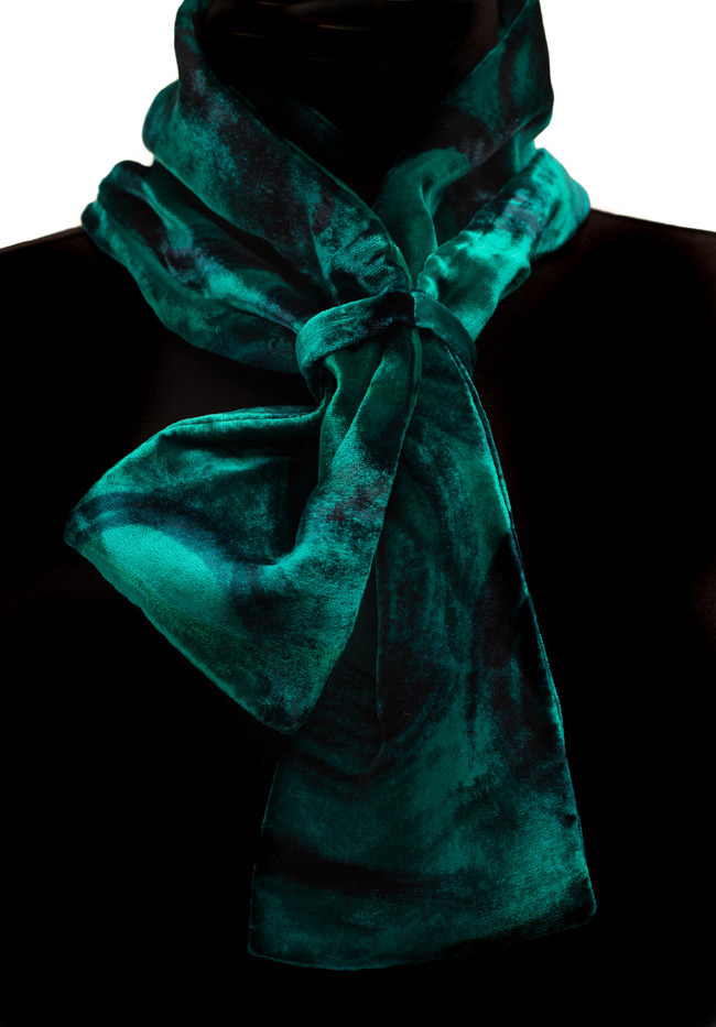 Silk Velvet Neck Scarf - Viridian