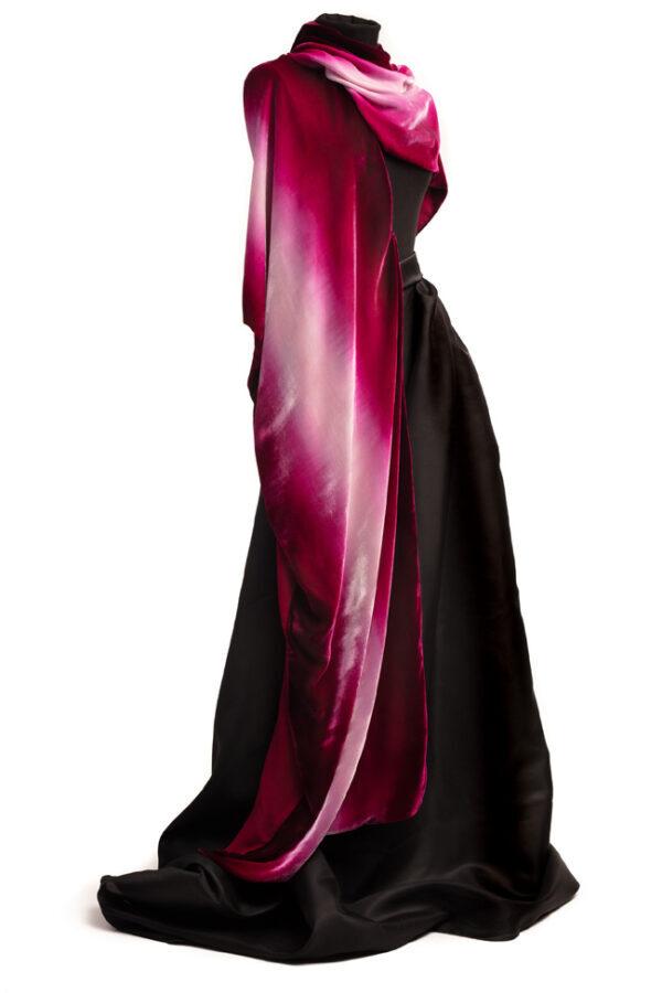 Silk Velvet Wrap - Crushed Raspberry