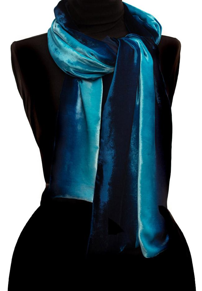 Silk Velvet Scarf - Turquoise Ombré